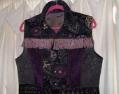 Boho Cowboy Jean Vest Purple Tapestry and Chenille Black Venitian Lace Antiqued Lavender Loop Trim Large fun Fun FUN