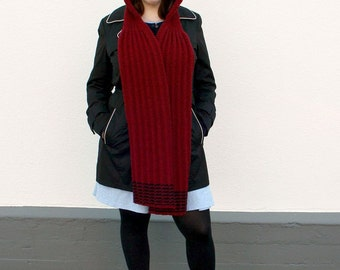 Red Black Scoodie, Hooded Scarf with Cable Pattern, Two Tone Scarf with Hood, Hand Knitted Womens Winter Fashion, Pixie Hood Scarf, Stripes