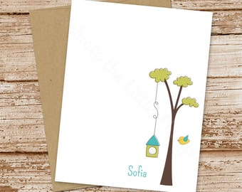 personalized stationery . bird birdhouse tree . personalized note cards . notecards flat stationary set . set of 10