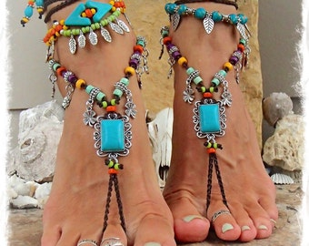 Turquoise Boho BAREFOOT Sandals FESTIVAL sandal Native Cowgirl Toe Thongs Statement foot wear Lucky Clover crochet foot jewelry GPyoga