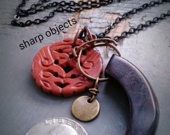 Viking Claw Totem  - layered metalwork tag, hinged wooden horn & carved jasper stone charm, chain necklace