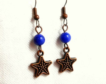 Blue with Antiqued Copper Star Charm Earrings - Surgical Steel French Hooks