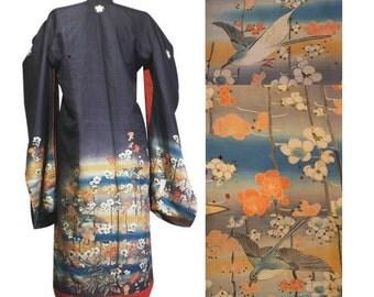 Antique Japanese Kimono. Formal Furisode. Asian Antique. Meiji - Taisho period, Japan.