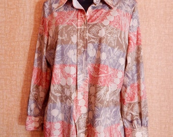 Vintage Blouse Polyester Button Down Shirt with TPink Blue Brown Tulips 70's Vintage Fashion Disco Shirt Pointy Collar