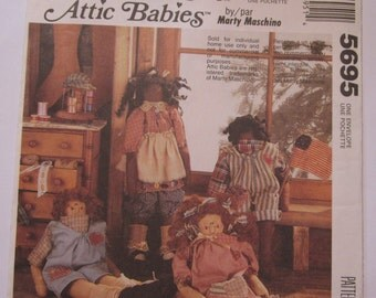 Attic Babies Rag Dolls- 17.5 inch Dolls and Clothes Argus & Aggie Country Vintage 1990's McCalls Crafts Pattern 5695 UNCUT