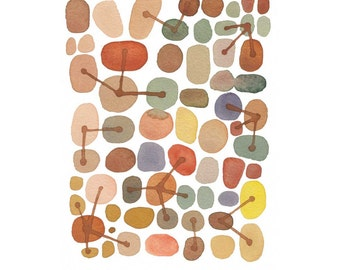 Abstract Watercolor painting brown pebbles and stones connected, little watercolor art print