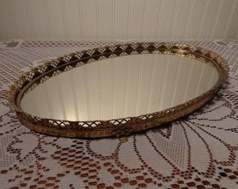Vintage Large Oval Vanity Mirror Tray - Large Perfume Mirror  -  15-518