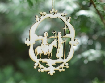 Natural Wood Mary and Joseph Ornament