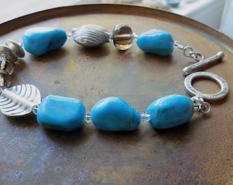 Kingman blue turquoise bracelet . BIRDS OF A FEATHER . Karen Hill Tribe silver bracelet . blue bracelet . grade A . one of a kind . charity