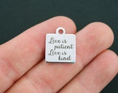 Love Stainless Steel Charm - Love is Patient Love is Kind - Exclusive Line - Quantity Options  - BFS610