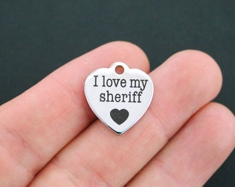 Sheriff Stainless Steel Charm - I Love My Sheriff - Exclusive Line - Quantity Options  - BFS570