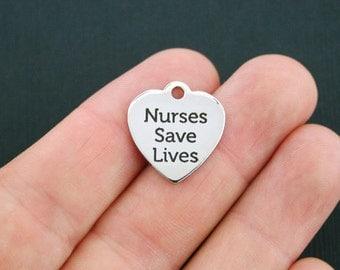 Nurse Stainless Steel Charm - Nurses Save Lives - Exclusive Line - Quantity Options  - BFS323