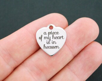 In Memory Stainless Steel Charm - A Piece of my Heart is in Heaven - Exclusive Line - Quantity Options  - BFS583