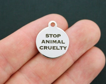 Animal Cruelty Stainless Steel Charm - Stop Animal Cruelty - Exclusive Line - Quantity Options  - BFS623