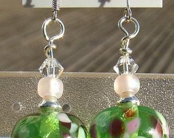 Springtime - lampwork bead earrings