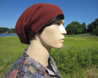 Men's Knit Hats Handmade Quality Slouchy Beanies in Ginger Brown by Vacationhouse Hats A1410