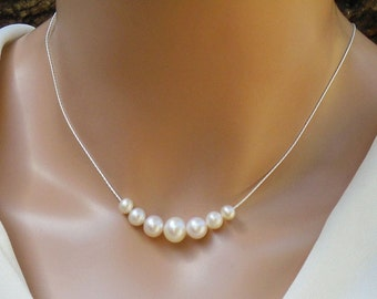 7 Pearl Necklace,  7 AAA Freshwater Pearls,  & Fine Sterling Silver  Chain Necklace, Freshwater Pearl Necklace,  Floating Pearl Necklace