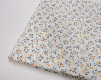 Mystery Fabric, 1 yd Remnant, Sewing Fabric, Tiny Floral on White