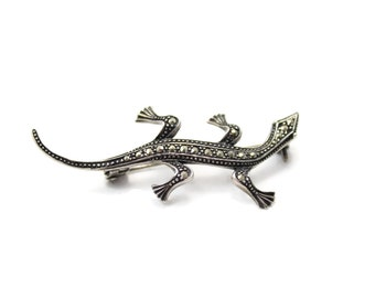 Vintage Sterling Silver 925 Brooch Pin of a Lizard with Marcasite