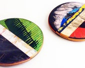 "SkateSpot Trivet Set - Set of Two (2) Trivets by Deckstool. Large Recycled Skateboard colorful wood 7"" Diameter coaster, hot plate, charger"