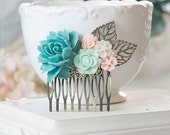 Blue and Pink Wedding Hair Comb Blue Ivory Pink Rose Flower Bridal Hair Comb Vintage Style Woodland Wedding Country Chic Bridesmaid Gift