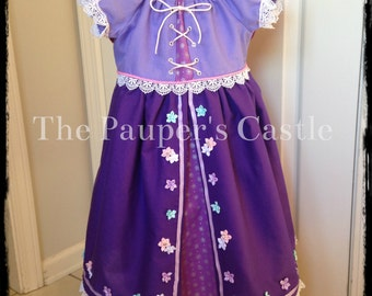 Disney Rapunzel / Tangled Princess Dress / Costume / Girls / Child's /Toddler/Casual Cotton Dress