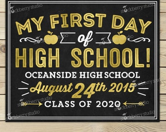 First Day of High School Sign Printable - 1st Day of High School Chalkboard - 1st Day of School Sign - Back to School Sign - Photo Props