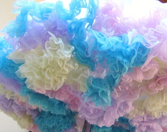 Pastel Rainbow Cotton Candy Nylon Petticoat Slip Full Circle Skirt Tutu Swing