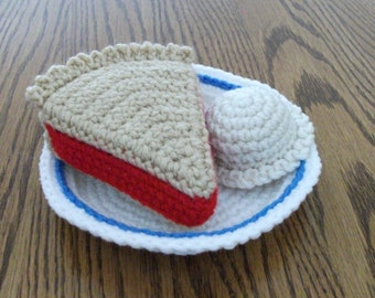 Crochet Slice of Pie with Ice Cream, Made to Order