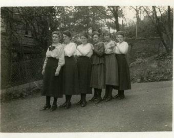 "Vintage Photo ""The Sassy Train"" Women Snapshot Photo Old Antique Photo Black & White Photograph Found Photo Paper Ephemera Vernacular - 59"