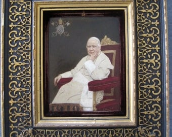 Antique French Limoges Porcelain Portrait Painting Pope Pius IX Signed 1878 Black Gold Stucco Frame Exihibition Ticket Papal Insignia