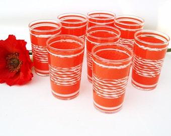 Vintage Orange Juice Glasses, Small Drinking Glasses, Mid Century Bar Glasses - Tangerine White Striped, Set of 8