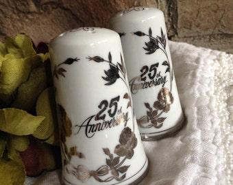 Vintage Norcrest 25th Silver Anniversary Salt & Pepper Shakers C-792 - #5303