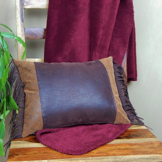 Leather Western Pillow with Fringe, Southwestern Throw Pillow, Ranch Home Decor