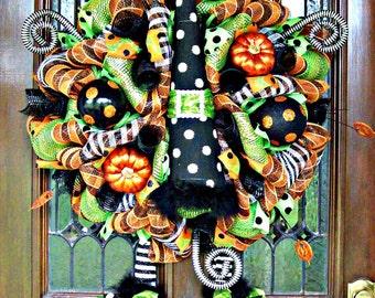 Whimsical Halloween Polka Dot Witch Hat Wreath