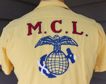 vintage 50's - 60's -Crown Prince- Lady's short sleeve - button loop collar Bowling shirt. Rayon. Chain stitch embroidery - USMC. Small