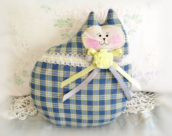 Cat Pillow Doll, Cloth Doll 7 inch, Blue and Yellow Woven Plaid Fabric Primitive Soft Sculpture Handmade CharlotteStyle Decorative Folk Art