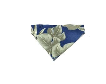 Small Blue Hawaiian Slip On Dog Bandana Over the Collar
