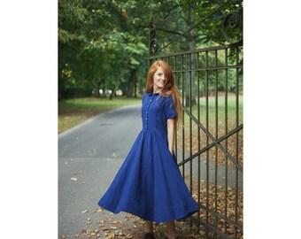 Linen Dress, Navy Blue, Women Fashion, Hand Made dress,  Loose Dress, Women clothing, Blue Dress