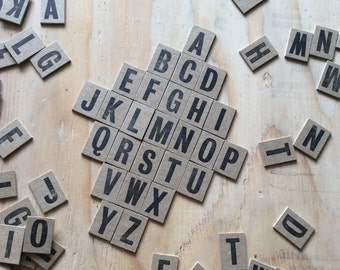Chipboard Alphabet Stickers, Letterpress Printed