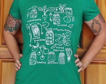 Canning - Womens Fitted T Shirt - Kelly Green -  S M L XL - Hand Screen Printed - Preserves Pickling Mason Jar