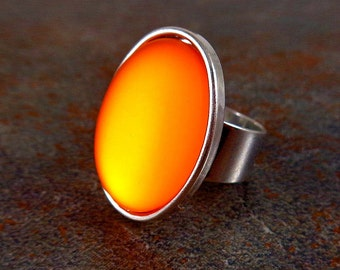 Statement Ring, Orange, Silver, Cocktail Ring, Rings for Women, Adjustable, Stone Ring, Statement Jewelry, Big Ring, Orange Ring, Oval Ring