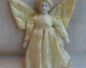 """Porcelain Angel Ornament, 7 1/2"""" Angel Doll, Collectible Doll, Christmas Ornament, Yellow Tree Decoration, Christmas Decor MyVintageTable"""