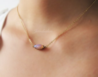 Fire Opal Necklace Ombre Pink Purple Rainbow Oval Necklace Small Opal Glass Charm Gold Layered Necklace Chic Modern Jewelry Gift C1