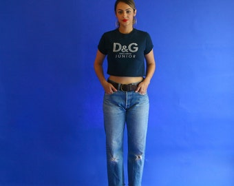 cropped t shirt/ dolce and gabbana junior navy blue baby tee/ 1990s/ xs-small