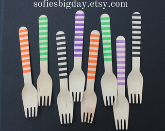 Halloween Forks-Halloween Decor-Halloween Party-Halloween Spoons- Halloween Striped Forks-Halloween Striped Spoons-25