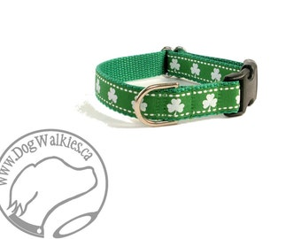 "Glittering Shamrocks Dog Collar - 3/4"" (19mm) Wide - Martingale or Quick Side Release - St. Patricks Day - Choice of collar style and size"