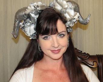 SILVER SHINE DEMON Silver Demon Devil Horns Headdress Hair Adornment ooak