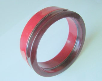 Modernist Stacked Lucite Bangle Bracelet / Brick Red / Cranberry / Layered / Vintage Jewelry / Jewelry / Jewellery
