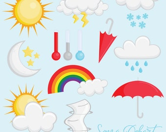 80% OFF Sale Clipart Weather Clip Art Set Sun Moon Umbrella Rain Snow CA232